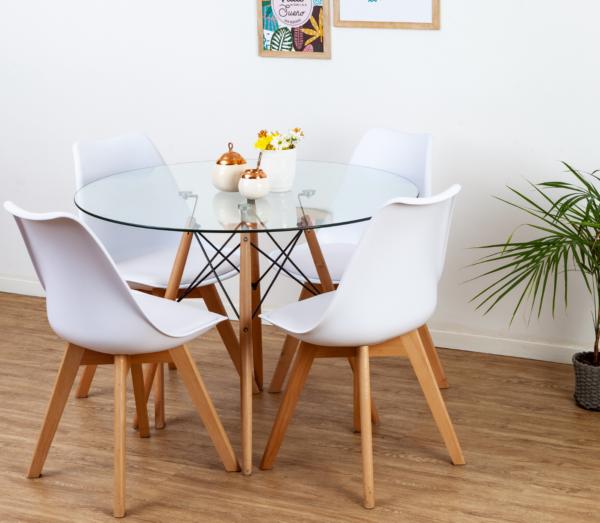 juego de comedor escandinavo con 4 sillas y mesa redonda de vidrio