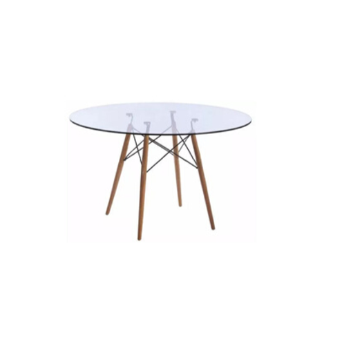 Mesa redonda con tapa de vidrio
